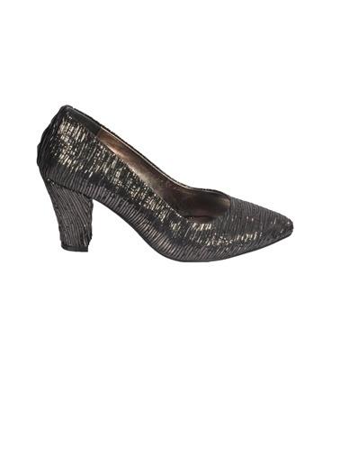 Mhd 023 Platin Kadın Topuklu Ayakkabı Gümüş
